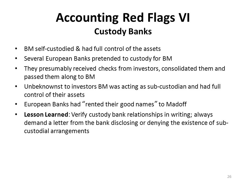 Accounting Red Flags VII Gaming the Audit Team Part I BM kept asking the SEC's exam team, When is this exam scheduled to end? The SEC exam team wisely never told him the exam's time limit BM then proceeded to spend hours at a time telling the exam team Wall Street war stories to keep them from asking him questions.