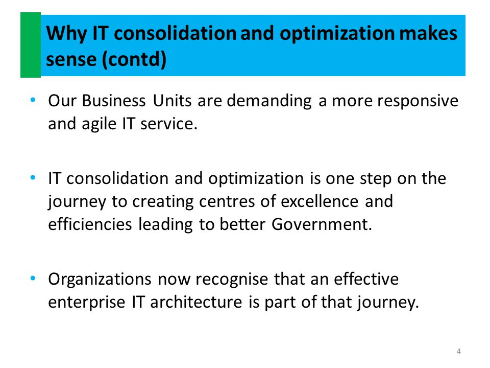 Benefits of consolidation and optimization within a Tax Administration.