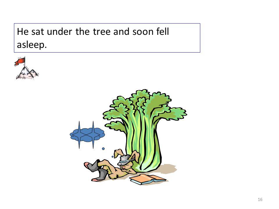 He sat under the tree and soon fell asleep. 16