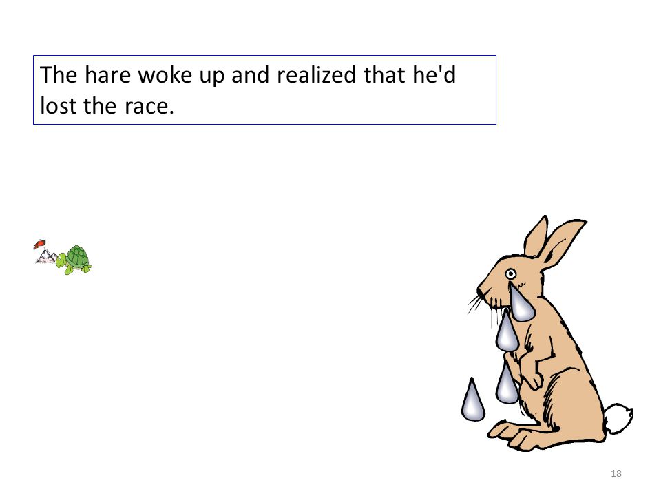 The hare woke up and realized that he d lost the race. 18