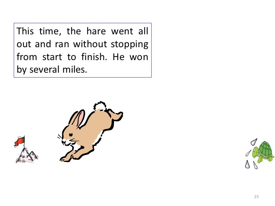 This time, the hare went all out and ran without stopping from start to finish.