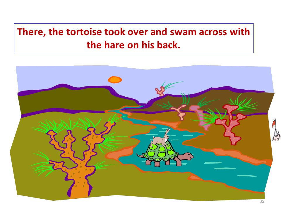 There, the tortoise took over and swam across with the hare on his back. 35