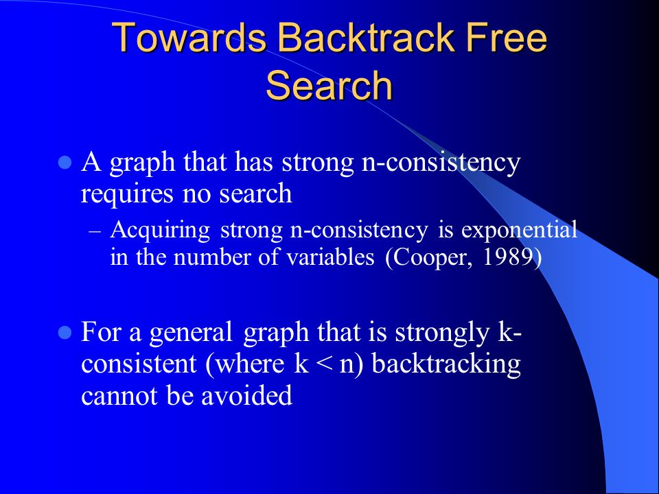 Example Arc consistent, yet a search will backtrack.