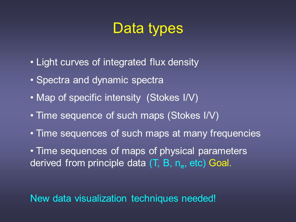 Data analysis Once radio data are reduced, data analysis proceeds much as it would in any other wavelength regime, the differences being in the details of the RT and the microphysics implicit therein.