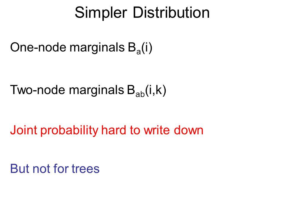 Simpler Distribution One-node marginals B a (i) Two-node marginals B ab (i,k) B(v) = Π a,b B ab (v a,v b ) Π a B a (v a ) n(a)-1 Pearl, 1988 n(a) = number of neighbors of V a