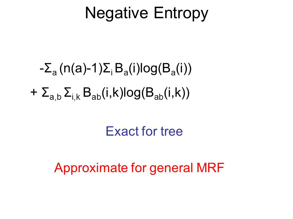 Bethe Free Energy -Σ a (n(a)-1)Σ i B a (i)(θ a (i)+log(B a (i))) + Σ a,b Σ i,k B ab (i,k)(θ a (i)+θ b (k)+θ ab (i,k)+log(B ab (i,k)) Exact for tree Approximate for general MRF