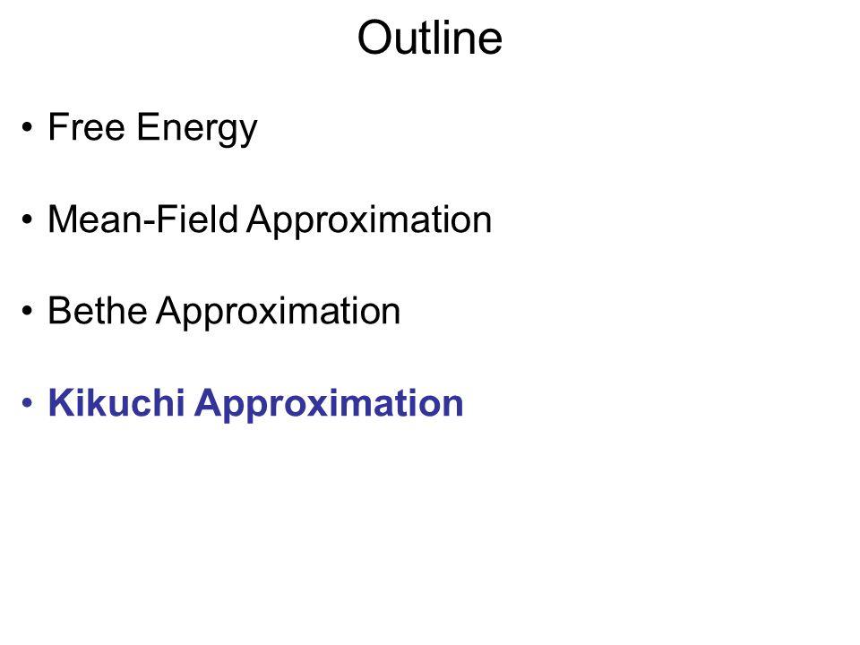 Local Free Energy V3V3 V4V4 V1V1 V2V2 Cluster of variables c G c = Σ v c B c (v c )(log(B c (v c )) + Σ d subset of c θ d (v d )) G 12 = Σ v 1,v 2 B 12 (v 1,v 2 )(log(B 12 (v 1,v 2 )) + θ 1 (v 1 ) + θ 2 (v 2 ) + θ 12 (v 1,v 2 ))