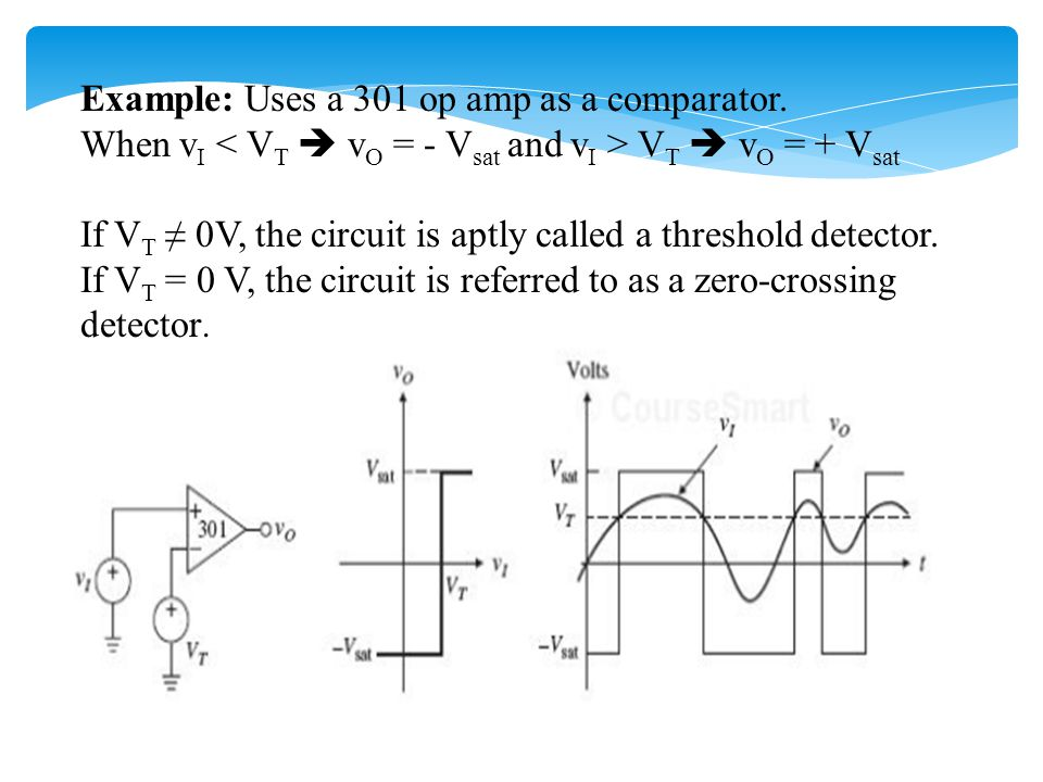 Inverting Schmitt Trigger Use a voltage divider to provide positive dc feedback for a 301 op amp.