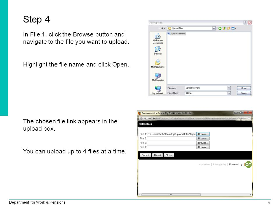 7 Department for Work & Pensions Step 5 Click submit.
