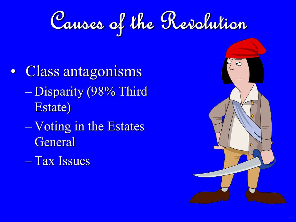 Causes of the Revolution Government Inefficiency: Government Inefficiency: –National deficit –No responses to poverty –Increased tax pressure