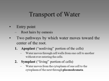 "Transport of Water Entry point –Root hairs by osmosis Two pathways by which water moves toward the center of the root. 1.Apoplast (""nonliving"" portion."