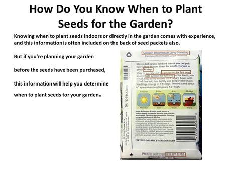How Do You Know When to Plant Seeds for the Garden? Knowing when to plant seeds indoors or directly in the garden comes with experience, and this information.