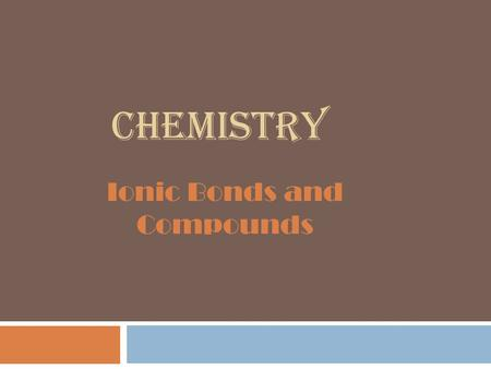 CHEMISTRY Ionic Bonds and Compounds. Section 7 Definitions  Ionic Compound  Ionic Bond  Chemical Formula  Formula Unit.