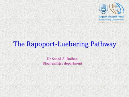 The Rapoport-Luebering Pathway Dr. Sooad Al-Daihan Biochemistry department.