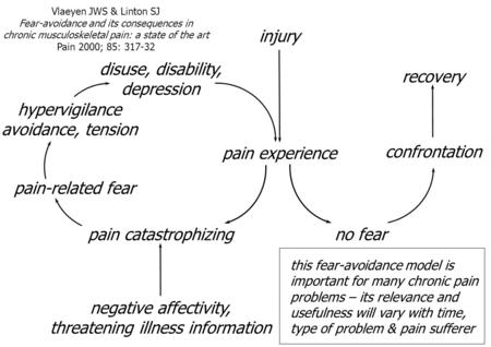 Injury pain experience no fear confrontation recovery pain catastrophizing pain-related fear hypervigilance avoidance, tension disuse, disability, depression.