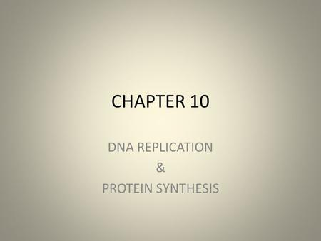 CHAPTER 10 DNA REPLICATION & PROTEIN SYNTHESIS. DNA and RNA are polymers of nucleotides – The monomer unit of DNA and RNA is the nucleotide, containing.