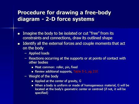 "Procedure for drawing a free-body diagram - 2-D force systems Imagine the body to be isolated or cut ""free"" from its constraints and connections, draw."