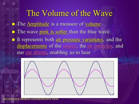 SOUNDS RECORDING AND REPRODUCTION The Volume of the Wave n The Amplitude is a measure of volume n The wave pink is softer than the blue wave. n It represents.