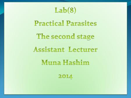 Lab(8) Practical Parasites The second stage Assistant  Lecturer