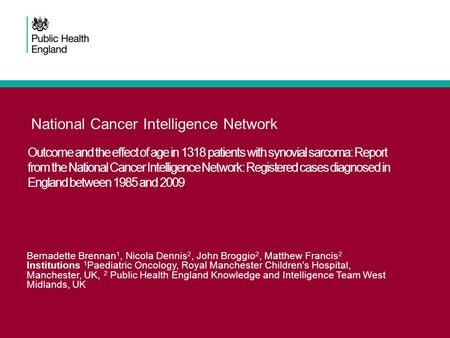 National Cancer Intelligence Network Outcome and the effect of age in 1318 patients with synovial sarcoma: Report from the National Cancer Intelligence.