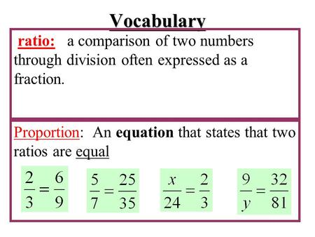 Vocabulary ratio: a comparison of two numbers through division often expressed as a fraction. Proportion: An equation that states that two ratios are equal.