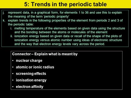 5: Trends in the periodic table j.represent data, in a graphical form, for elements 1 to 36 and use this to explain the meaning of the term 'periodic property'