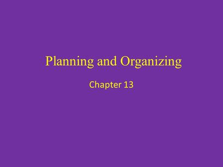 Planning and Organizing Chapter 13. The Planning Function Planning for a business should stem from the company's Business Plan – The business plan sets.