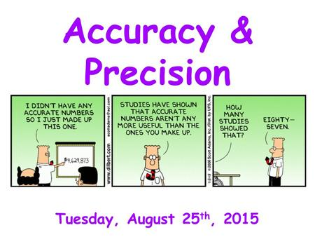 Accuracy & Precision Tuesday, August 25 th, 2015.