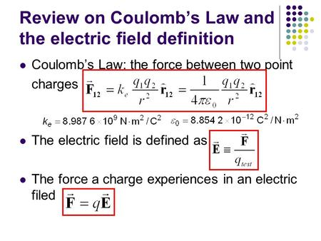 Review on Coulomb's Law and the electric field definition Coulomb's Law: the force between two point charges The electric field is defined as The force.