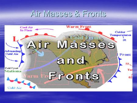 Air Masses & Fronts. Air Masses  Large body of air with a uniform temperature and moisture content.  Classified according to their source region. 