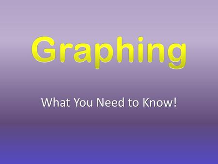 What You Need to Know! Information! Graphs Need.... A Title Labels (words or numbers) Pictures, Bars, or Dots.