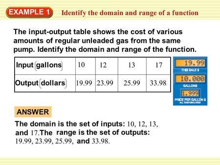Identify the domain and range of a function EXAMPLE 1 The input-output table shows the cost of various amounts of regular unleaded gas from the same pump.