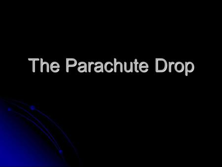 The Parachute Drop. What is Air Resistance? Air resistance is the force exerted by air against an object moving through it and acts in the opposite direction.