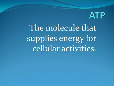 The molecule that supplies energy for cellular activities.