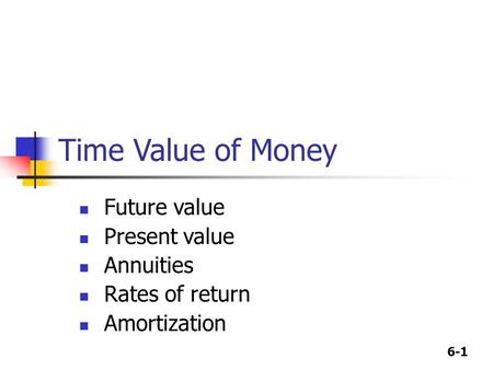 6-1 Time Value of Money Future value Present value Annuities Rates of return Amortization.