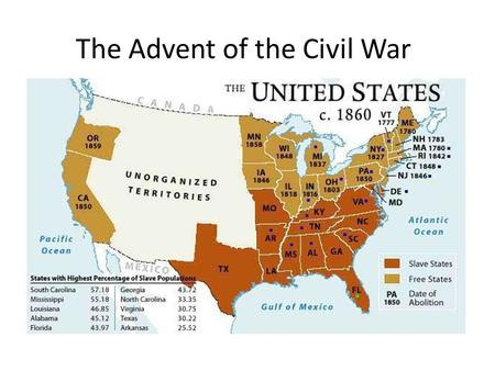 The Advent of the Civil War. The Missouri Compromise - 1820 1. Was this more of a victory for pro-slavery people or anti-slavery people?