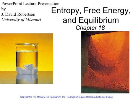 Entropy, Free Energy, and Equilibrium Chapter 18 Copyright © The McGraw-Hill Companies, Inc. Permission required for reproduction or display. PowerPoint.
