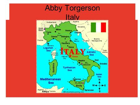 Abby Torgerson Italy. Tourist Attraction Geography Area: 301,225 sq. km. (116,303 sq. mi.); about the size of Georgia and Florida combined. Cities: Capital--Rome.