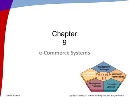 E-Commerce Systems Chapter 9 McGraw-Hill/IrwinCopyright © 2011 by The McGraw-Hill Companies, Inc. All rights reserved.