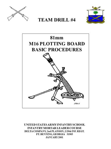 TEAM DRILL #4 81mm M16 PLOTTING BOARD BASIC PROCEDURES UNITED STATES ARMY INFANTRY SCHOOL INFANTRY MORTAR LEADER COURSE DELTA COMPANY, 2nd PLATOON, 2/29th.