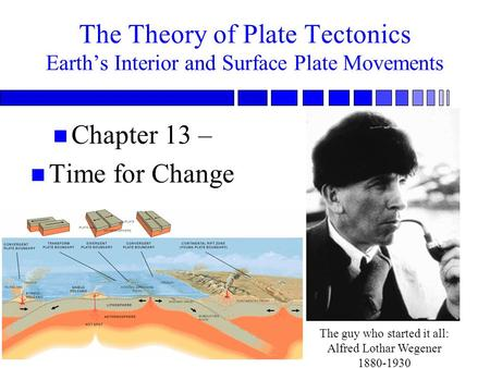 1 The Theory of Plate Tectonics Earth's Interior and Surface Plate Movements n Chapter 13 – n Time for Change The guy who started it all: Alfred Lothar.