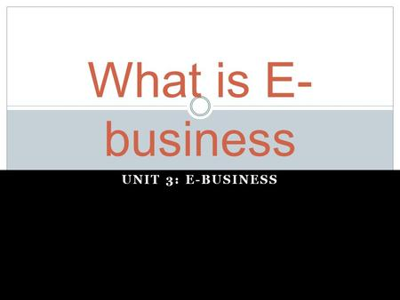 UNIT 3: E-BUSINESS What is E- business. E-Business - is short for electronic business It is the activity of doing business electronically The effective.