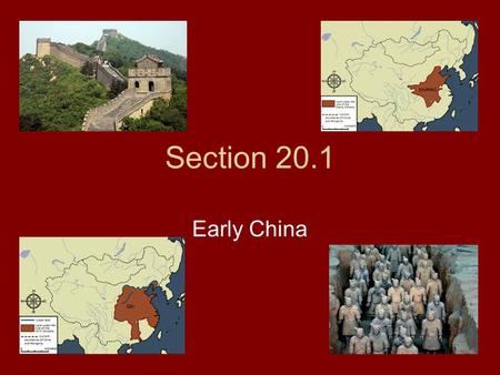Section 20.1 Early China. Chinese Civilization Begins People farmed as early as 7000 BC Centered on two rivers – Yangzi & Yellow Grew rice, millet, and.