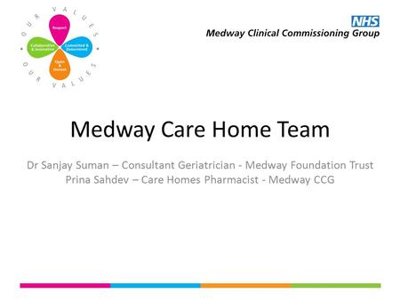 Medway Care Home Team Dr Sanjay Suman – Consultant Geriatrician - Medway Foundation Trust Prina Sahdev – Care Homes Pharmacist - Medway CCG.