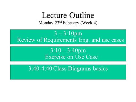 Lecture Outline Monday 23 rd February (Week 4) 3 – 3:10pm Review of Requirements Eng. and use cases 3:10 – 3:40pm Exercise on Use Case 3:40-4:40 Class.
