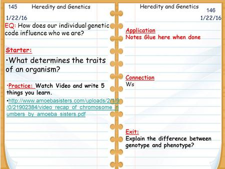 1/22/16 Starter: What determines the traits of an organism? 1/22/16 145 146 Heredity and Genetics Application Notes Glue here when done Connection Ws.