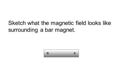 Sketch what the magnetic field looks like surrounding a bar magnet.