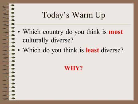 Today's Warm Up Which country do you think is most culturally diverse? Which do you think is least diverse? WHY?