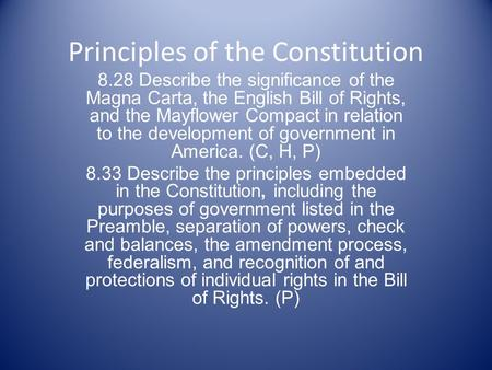 Principles of the Constitution 8.28 Describe the significance of the Magna Carta, the English Bill of Rights, and the Mayflower Compact in relation to.