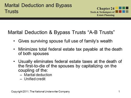 Marital Deduction and Bypass Trusts Chapter 24 Tools & Techniques of Estate Planning Copyright 2011, The National Underwriter Company1 Marital Deduction.